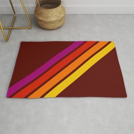 Bormo - Pink Red Orange Yellow Stripes Rug