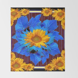 Decorative Sunflower Patterns Blue Leaves Throw Blanket