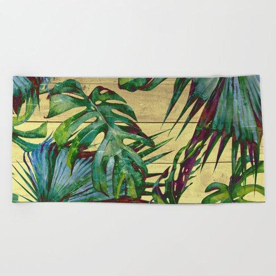 Tropical Palm Leaves on Wood Beach Towel
