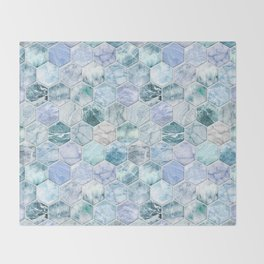 Ice Blue and Jade Stone and Marble Hexagon Tiles Throw Blanket