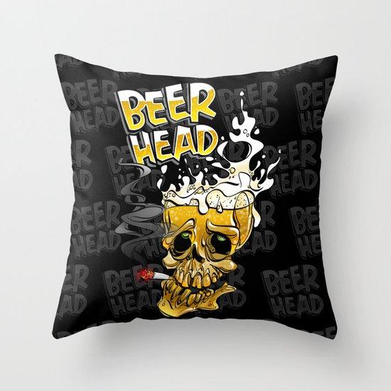 beer head Throw Pillow