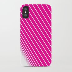 pink & white stripes Slim Case iPhone X