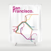 san francisco map Shower Curtains featuring San Francisco Transit Map by Ariel Wilson