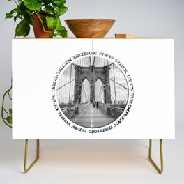 Brooklyn Bridge New York City (black & white with text) Credenza