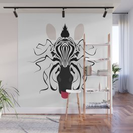 Zebra Tongues Out Wall Mural