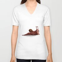 snail V-neck T-shirts featuring Snail by Alexander Skachkov