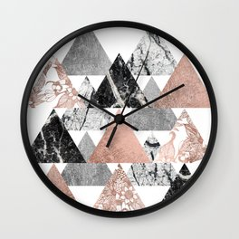 Marble Rose Gold Silver and Floral Geo Triangles Wall Clock