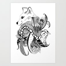 Inking Fox and Bird Art Print