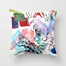 Collaged Abstract Throw Pillow