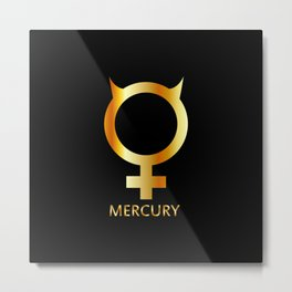 Zodiac and astrology symbol of the planet Mercury in gold colors- astronomical icon Metal Print