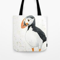 puffin Tote Bags featuring Puffin by Priscilla George