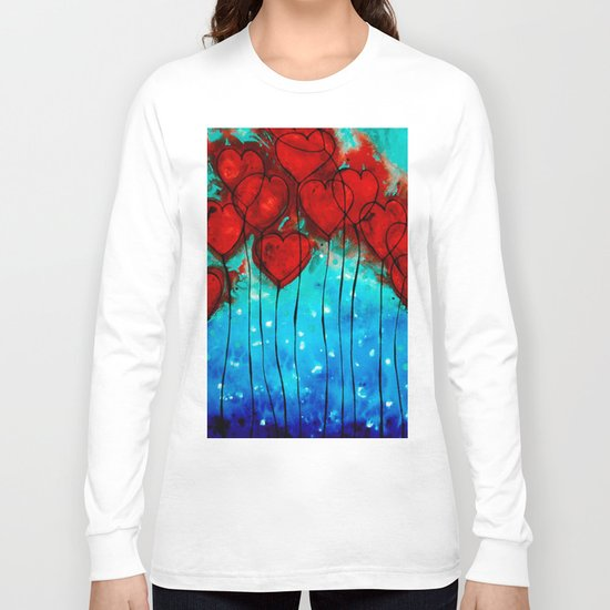 Hearts On Fire - Romantic Art By Sharon Cummings Long Sleeve T-shirt