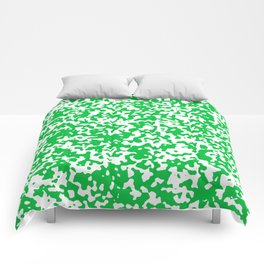 Small Spots - White and Dark Pastel Green Comforters