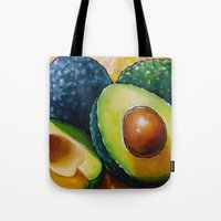 avocado Tote Bags featuring Avocado  by Na Liu Cherry