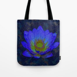 Blue Marble and Gold Watercolor Lotus Tote Bag
