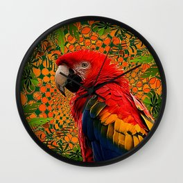 RED JUNGLE MACAW PATTERN ABSTRACT Wall Clock