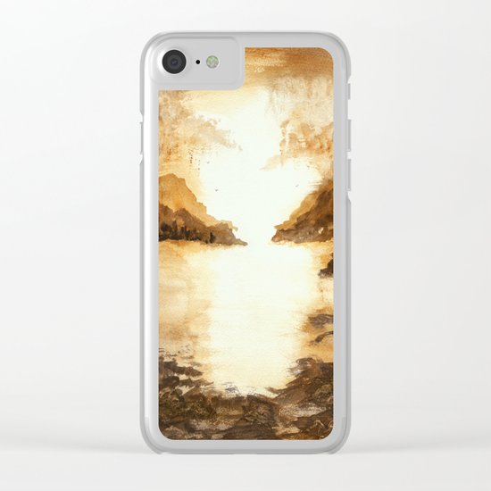 Golden Morn, Abstract Watercolor Landscape Art Water Nature Sky Clear iPhone Case