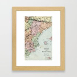 Vintage Map of Spain and Portugal Framed Art Print