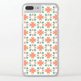 Orange Vintage Tiles Pattern Clear iPhone Case