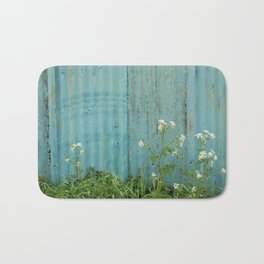 natural wild flowers floral outdoors blue metal fence texture Bath Mat