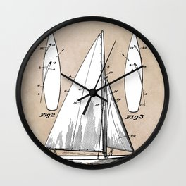 patent art Herreshoff  Sail Boat 1925 Wall Clock
