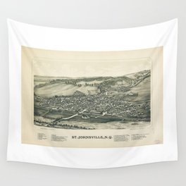 Aerial View of St. Johnsville, New York (1890) Wall Tapestry