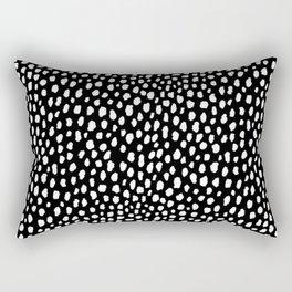 Handmade polka dot brush strokes (black and white reverse dalmatian) Rectangular Pillow