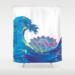 Hokusai Rainbow & Lotus Shower Curtain
