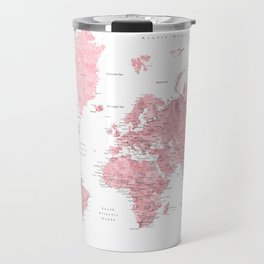 Light pink, muted pink and dusty pink watercolor world map with cities Travel Mug