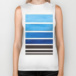 Blue Minimalist Mid Century Modern Color Fields Ombre Watercolor Staggered Squares Biker Tank