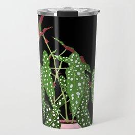 Polka Dot Begonia Potted Plant in Black Travel Mug