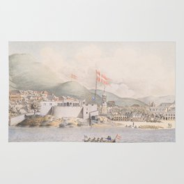 Vintage Pictorial View of Christiansted St Croix (1839) Rug