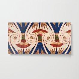 Egyptian Blue Gold Ornamental Pattern Low Poly Metal Print