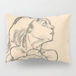 """Egon Schiele """"Seated Nude Girl Clasping Her Left Knee"""" Pillow Sham"""