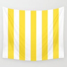 Banana yellow - solid color - white vertical lines pattern Wall Tapestry