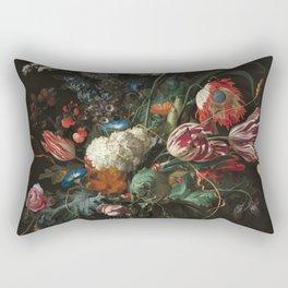 Still Life Parrot Tulips, Peonies, Hibiscus, Hydranga, Periwinkle Flowers in Vase by Jan de Heem Rectangular Pillow