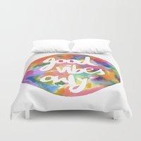 good vibes only Duvet Covers featuring Good Vibes Only by Mariam Tronchoni