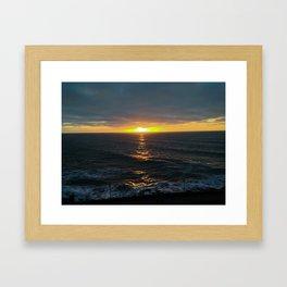 Sunset in La Perla, beach in Mar del Plata Framed Art Print