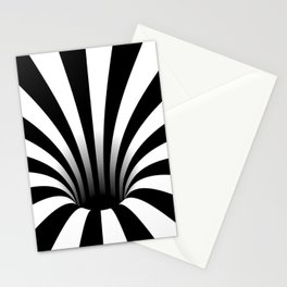 Optical Illusion Op Art Radial Stripes Warped Black Hole Stationery Cards