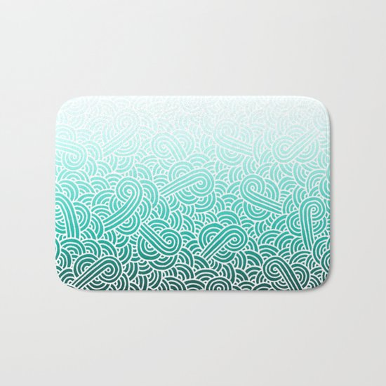 Ombre turquoise blue and white swirls doodles Bath Mat