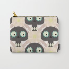 Cute pattern with funny skulls and flowers Carry-All Pouch