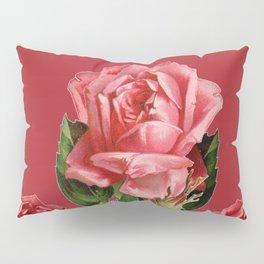 ROSE MADDER ANTIQUE VINTAGE ART PINK ROSES Pillow Sham
