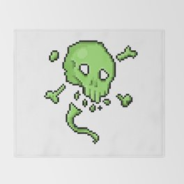 Retro Pixel : Poison Skull Throw Blanket