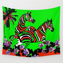 Zebra Red and Green Wall Tapestry