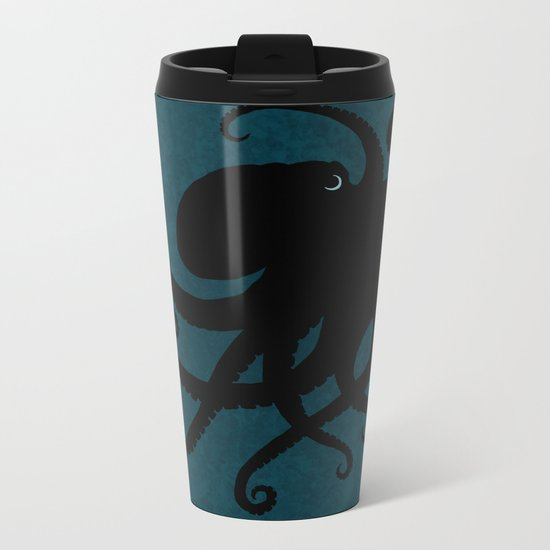 """Octopus Silhouette"" digital illustration by Amber Marine, (c) 2015 Metal Travel Mug"