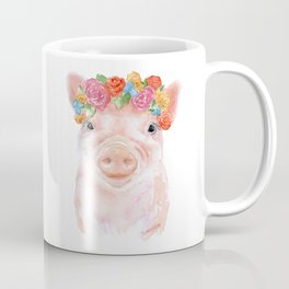 Piglet Floral Watercolor Coffee Mug