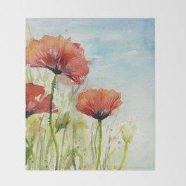 Red Flowers Watercolor Landscape Poppies Poppy Field Throw Blanket
