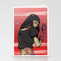 cyberpunk Stationery Cards featuring Ready to rumble - Cyberpunk girl by Printableink