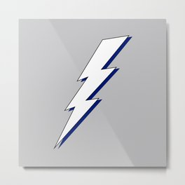 Just Me and My Shadow Lightning Bolt - Grey White Blue Metal Print