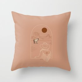 Lost Pony - Pink Clay Throw Pillow